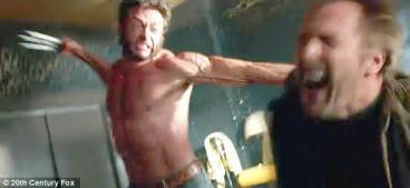 bob hoskins vs hugh jackman as wolverine the x days of future past trailer shows a shirtless hugh