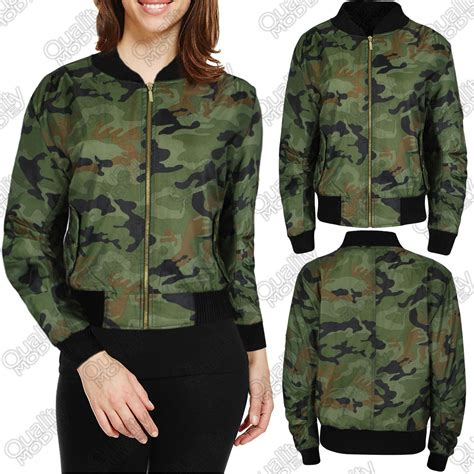 army pattern bomber jacket womens ladies camouflage bomber jackets army biker zip up
