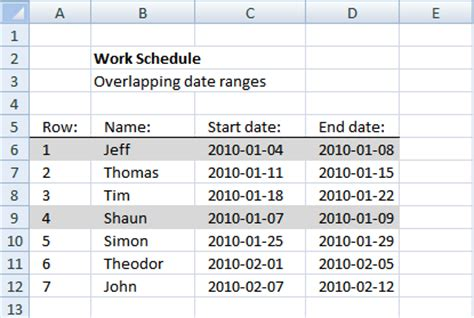 overlapping schedule template create a date range using excel formula