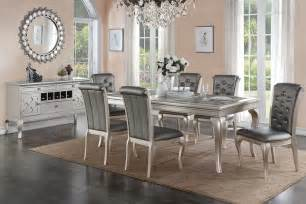 Dining Room Table Sets home barzini silver finish dining room table set