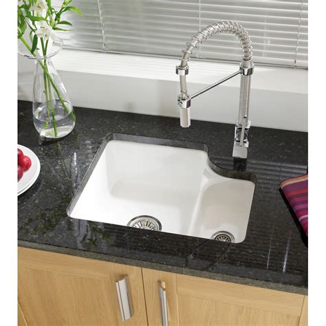 undermount ceramic kitchen sinks astracast lincoln 1 5 bowl white ceramic undermount