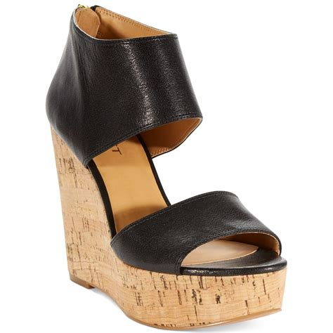 nine west sandal wedges nine west caswell platform wedge sandals in black lyst