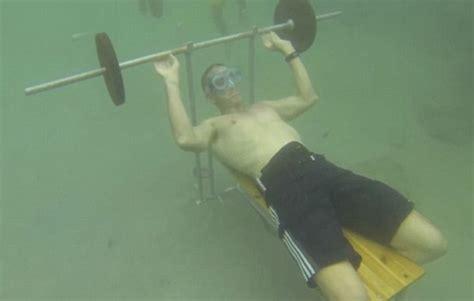 underwater bench underwater bench presses world record taken by gerald