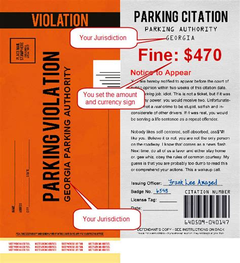 printable parking tickets fake parking ticket customizable play a joke on
