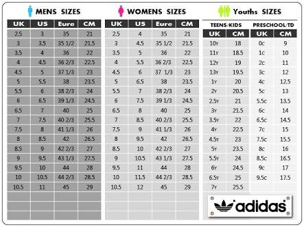 adidas sizing chart world  printable  chart