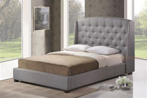 grey beds gray grey linen queen platform bed frame w tufted