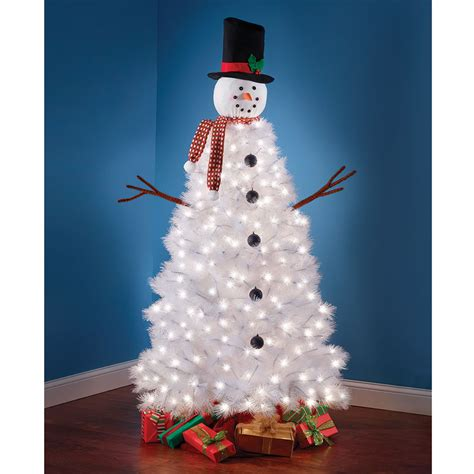 the illuminated snowman tree hammacher schlemmer