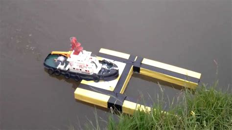 rc rescue boat rc tug boat with homemade rescue pontoon for rc speedboats