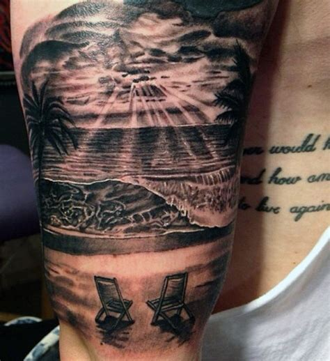 beach scene tattoo 75 tattoos for serene shore designs