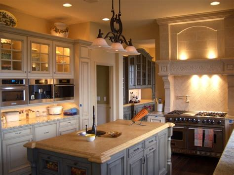 Cozy Country Kitchen With Island And Granite Countertops