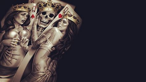 crown tattoo hd king queen crown poker tattoos skull bones skeleton cup