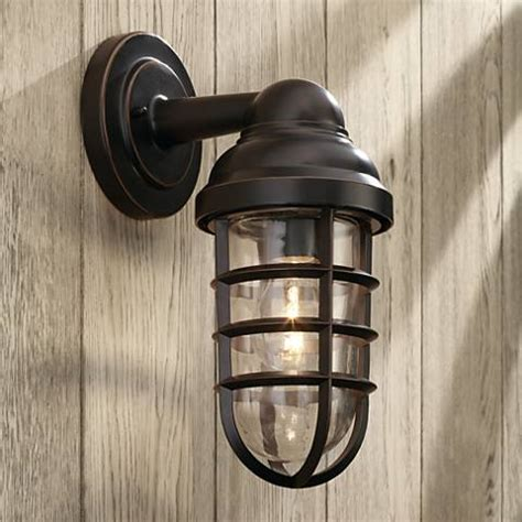 marlowe 13 1 4 quot high bronze metal cage outdoor wall light