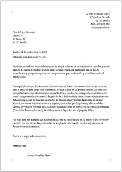 Modelo Carta De Presentacion Curriculum Administrativo Ejemplo De Carta De Presentaci 243 N Para Administrativo
