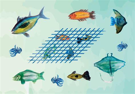 vector watercolor fish patterns download free vector art free watercolor fish vector pack download free vector