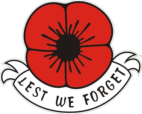 poppy car window sticker lest we forget