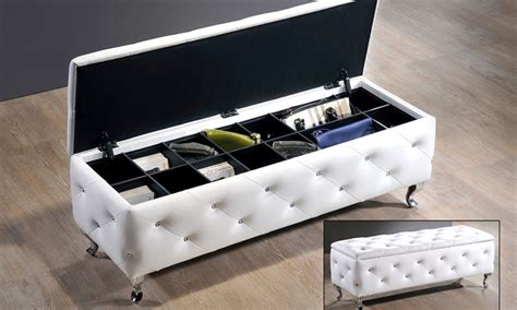 crystal tufted bench modern storage bench groupon goods