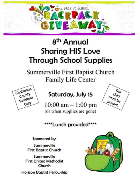 School Supply Giveaway 2017 - summerville churches to giveaway school supplies am 1180 radio