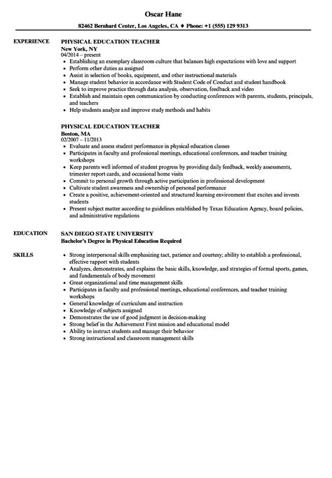 Physical Education Resume physical education resume sles velvet