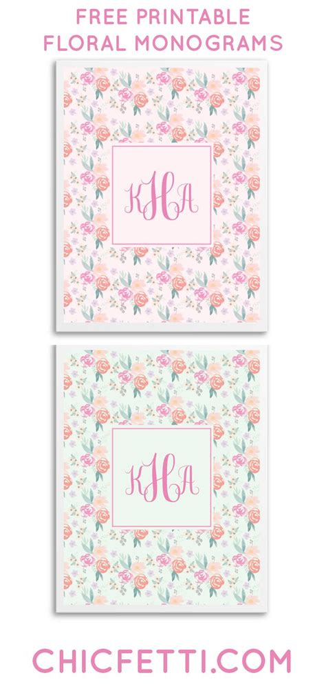 printable monogram art free printable floral monograms from chicfetti great