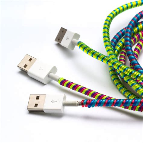 Spiral Cord Charger Cable Protector colourful charger cord wraps by get it rapt