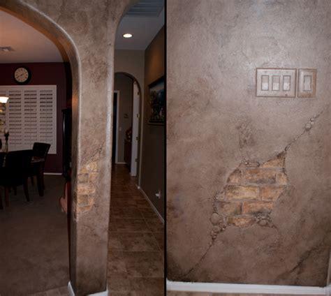 Fake Exposed Brick Wall by Phoenix Muralist Caroline Woods Muralist