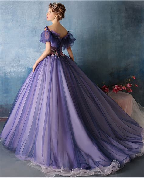 100%real purple flower beading waist ruffle Medieval Renaissance gown Sissi princess dress