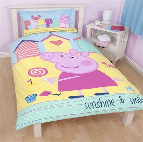 pig comforter peppa pig seaside single panel reversible duvet set quilt