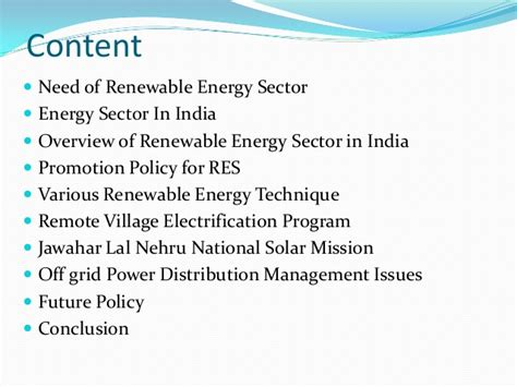 Mba In Renewable Energy Management In India by Renewable Energy In India Present Status And Policy