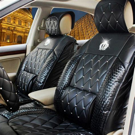 crown leather seat covers automobile rhinestone crown jushi cushion four