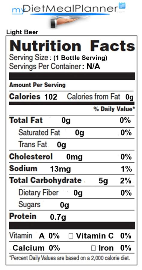 Calories Coors Light by Nutrition Facts Label Beverages 16 Mydietmealplanner