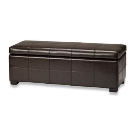 buy brown leather storage ottoman from bed bath beyond
