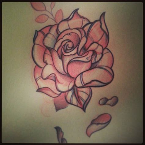 pink rose tattoo designs traditional pink design
