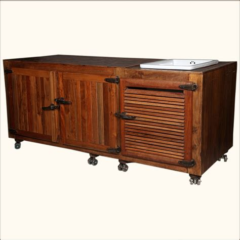 Solid Wood Kitchen Island Cart Solid Wood Ceramic Buffet Cabinet Sink Kitchen Island Counter Rolling Cart Ebay