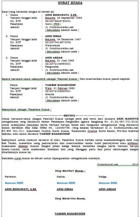 contoh surat kuasa penjualan tanah warisan terbaru format