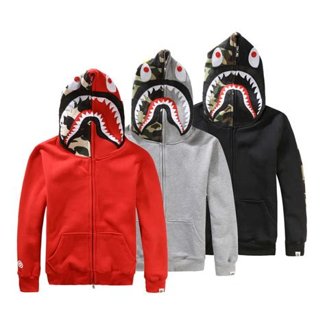 Jaket A Bathing Ape Bape Shark Black Wash shark camo bape a bathing ape jacket zip hoodie sleeve coat ebay