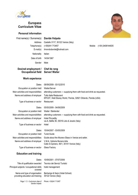 form cv europeo word cv form in english download cv resume exles to download