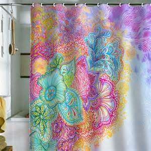 Bright Colorful Kitchen Curtains Inspiration Corfee Flourish Shower Curtain