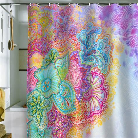 Bright Colored Shower Curtains Corfee Flourish Shower Curtain