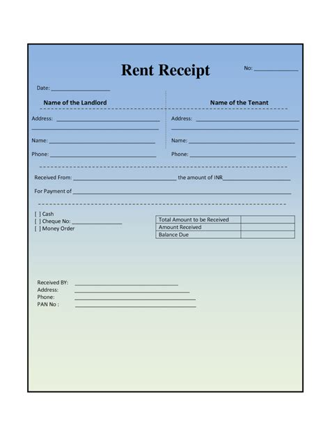landlord receipt template house rental invoice template in excel format from