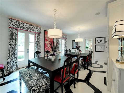 black white red dining roominterior design ideas
