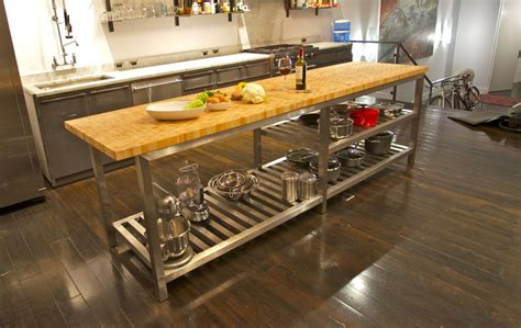 stainless steel kitchen island with butcher block top the best commercial kitchen islands modern kitchens
