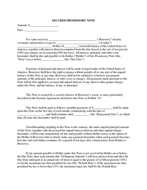 free secured promissory note template word best photos of secured mortgage note sle promissory