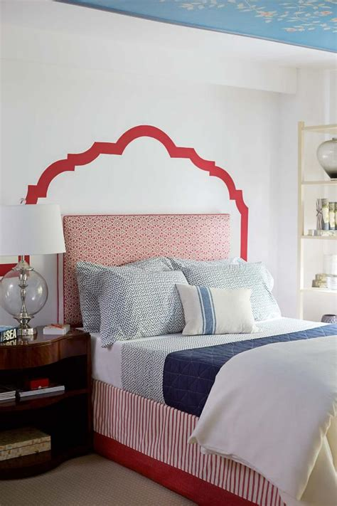 white painted headboard white and blue bedroom with painted headboard hgtv