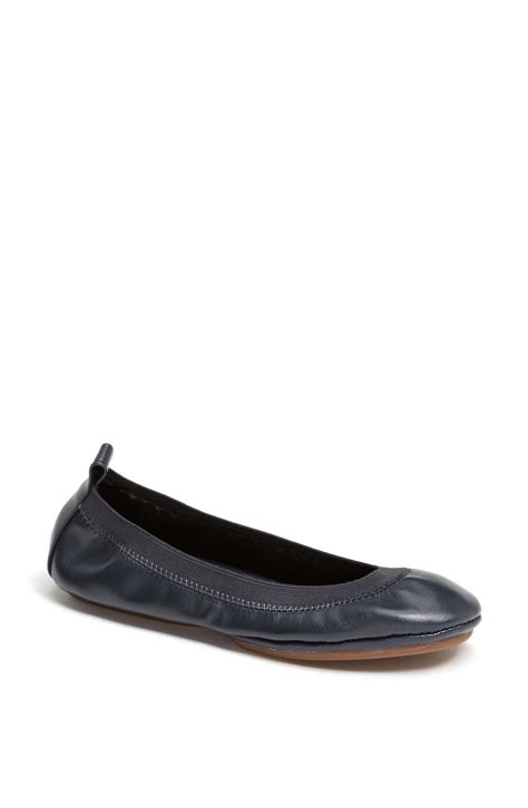 flat foldable shoes yosi samra foldable ballet flat in blue navy leather lyst