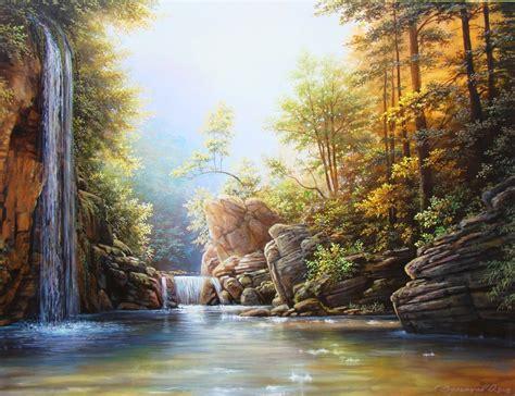 painting with oleg bylgakov artwork waterfall original painting