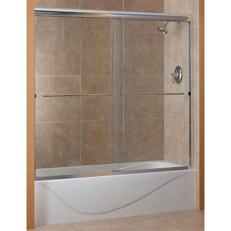 Glass Doors For Tub Shower Foremost Cove 60 In X 60 In Semi Framed Sliding Tub Door In Rubbed Bronze With 1 4 In