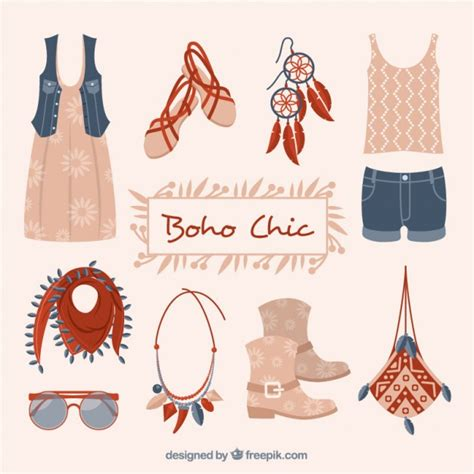 fashion pattern freepik fashion clothes and accessories in boho style vector