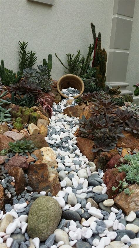 my rock garden with bed pot combo