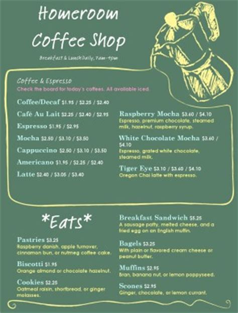 Chalkboard Coffee House Menu Coffee House Menus Coffee House Menu Template