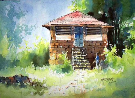 House Artists by Buy Painting Konkan House Artwork No 6624 By Indian Artist